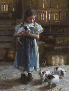 Morgan Weistling - Pig Tales - LIMITED EDITION CANVAS from the Greenwich Workshop Fine Art Gallery featuring fine art prints, canvases, books, porcelains and gift ideas. Christian Paintings, Christian Art, Morgan Weistling, Munier, Western Art, Fine Art Gallery, Vintage Art, Original Paintings, Artwork