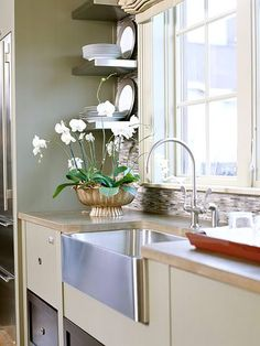 Stainless steel apron sink and shelves...