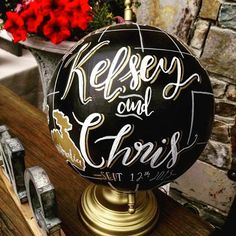 Handpainted Globe for Wedding Guestbook by LeftyLadyChalkShop