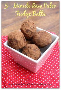 5 Minute Raw Paleo Fudge Balls - Healy Eats Real #raw #paleo #chocolate #fudge