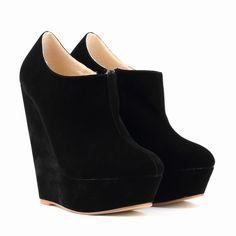 2015 chegada nova mulher 14 cm de salto alto plataforma calçado marca Designer mulher cunha botas de camurça botas senhoras Sexy sapatos de outono em Botas de Sapatos no AliExpress.com | Alibaba Group