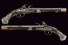 Silver mounted pair of flintlock pistols crafted by Pietro Mana of Breschia, Italy, 18th century.