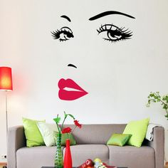1.94$  Buy here - Hot Pink lips Marilyn Monroe Quote Vinyl Wall Stickers Art Mural Home Decor Decal Adesivo De Parede Wallpaper Home Decoration   #aliexpress