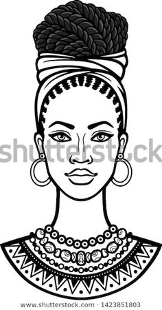 Image vectorielle de stock de African Beauty Animation Portrait Beautiful Black 1423851803 Images, photos et images vectorielles de stock de Vector portrait of African American woman in kerchief with gold earrings. Black Women Art, Beautiful Black Women, Black Art, African Drawings, African Art Paintings, African Beauty, African Women, Afrique Art, Vector Portrait