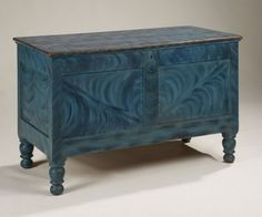 "Blue Grained Blanket Box Dimensions: Ht. 26 1/4"", W. 42"", D. 21""  Date / Circa: c. 1830  Maker / Origin: New Jersey  Medium: Pine with poplar with the original vibra..."