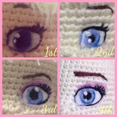 Have needle felted eyes for my Elsa s Frozen amigurumi crochet dolls Knitted Dolls, Crochet Dolls, Love Crochet, Crochet Eyes, Crochet Stitches, Crochet Patterns, Crochet Crafts, Diy Crochet, Eyes Photos