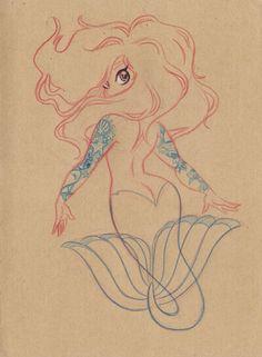 Mock up if tattooed mermaid