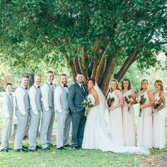 A picture perfect bridal party  Keli and her bridal party in the Rachel bridesmaid dress by Donna Morgan rented with Vow To Be Chic! Rent The Look! A real Vow wedding.
