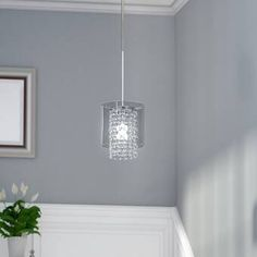 Willa Arlo Interiors Harmon 1 - Light Unique / Statement Cylinder Pendant with Beaded Accents Crystal Pendant Lighting, Drum Pendant, Globe Pendant, Lantern Pendant, Mini Pendant, Glass Crystal, Globe Chandelier, Chandeliers, Globe Lights