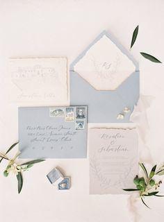 Wedding Gifts light blue and ivory hand calligraphed wedding invitation suite Wedding Paper, Wedding Cards, Wedding Events, Wedding Gifts, Wedding Day, Rustic Wedding, Formal Wedding, Budget Wedding, Spring Wedding