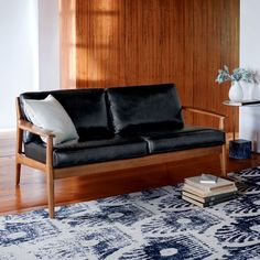 "Mathias Mid-Century Wood Frame Leather Loveseat (66"") | west elm"