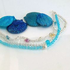 multi strand beaded bracelet blue beaded by LovesShellsBeads