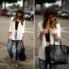 Céline Bag, Sacha Leopard Slip Ons, Céline Sunglasses, H&M Crop Top, Zara Blazer, Zara Jeans