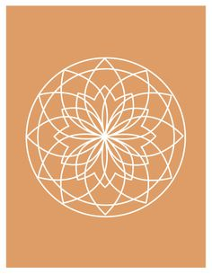Lotus Flower Pattern Orange and White Art Print. 8.5x11 art print. Geometric Flower. Eternity Flower. Zen.. $15.00, via Etsy.