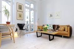 White wood floor, nicer than I would have imagined. #wood_floors #living_room #interior_design