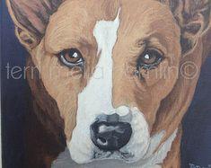 Dog Portrait 8x10 Pet Portrait Custom Pet Portrait Painted