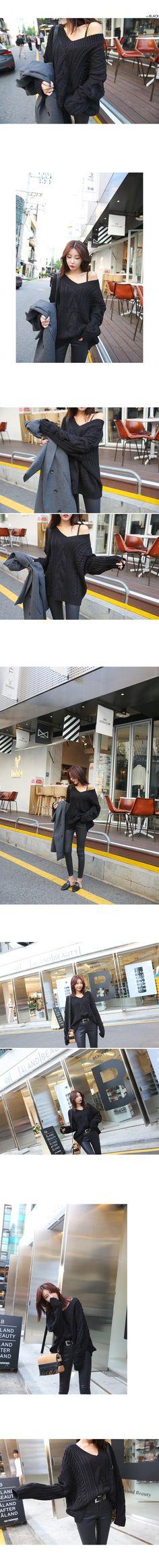 브이넥빅꽈배기니트_D3KN 브이넥 루즈핏 내추럴 와이드핏 니트 편안한 캐주얼 러블리 스쿨룩 일상 날씬한 사랑스러운 여리여리핏 스타일리쉬 스타일 데일리 데일리룩 심플 베이직 여성스러운 블랙 올리브 베이지 핑크 블루 | DABAGIRL, Your Style Maker | Korean clothes, bags&shoes, accessories, cosmetics