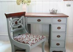 Beautiful Antique 9 Drawer Desk with Upholstered Chair