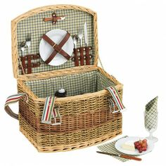 HOLIDAY ESSENTIALS - 2 Person Green Check Picnic Basket