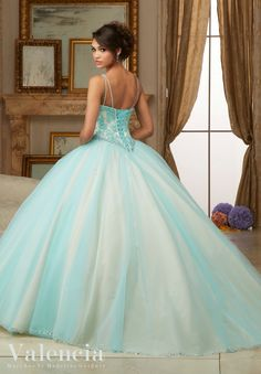 Morilee Valencia Quinceanera Dress 60002 BEADED LACE BODICE ON PRINCESS TULLE BALL GOWN Matching Bolero Jacket. Colors Available: Scarlet/Champagne, Aqua/Champagne, Blush/Champagne (Color of this dress): Aqua/Champagne