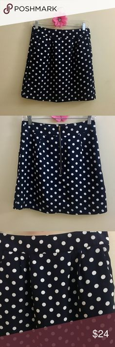 """NWOTs Criss Cross Polka Dot Skirt NWOTs Criss Cross Polka Dot Skirt from Francesca's Navy blue with white polka dots.  It has pockets!  Zip up closure in back.  Waist is 14"""" across and length is 17"""". Size M. Skirts Mini"""
