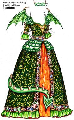 Halloween '10 Day 8: Dragon Masquerade Gown in Green and Gold | Liana's Paper Dolls