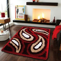 Designer Polyester Carpet-CFT-HBF-P-Paisley-Red