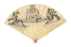 """""""A PRINTED PAPER FAN  ENGLISH, 18TH CENTURY  the printed leaf with hand coloured grisaille memorial to Frederick Lewis, Prince of Wales, 1751, died aged 48, with Britania weeping on the steps, with ivory carved sticks, 18th century"""""""