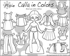 Black and white printable paper doll for coloring. Part of the Calla collection which came out in three different color schemes and one in black and white. Free to print off the blog.
