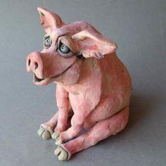 Sitting Pig Ceramic Sculpture by RudkinStudio on Etsy