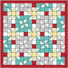 The lazy Z star quilt pattern is bright and cheerful - and simple to make! I have added yellow and red to the basic design to give some pop to the quilt.