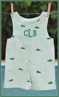 Boys Alligator Seersucker Monogram Personalized Jon Jon Shortall Romper Sibling Boutique Custom Maddie Kate. $34.00, via Etsy.