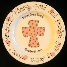 Personalized Baptism Plate Hand Painted Baby by cutiepatooties1, $24.50