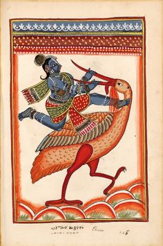 "Krishna killed the demon crane Bakasura. ""Indian Deities,"" two albums 195 illus. S.Andhra Pradesh (north of Madras), bordering Karnataka, around 1720-1730."