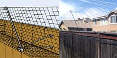 The COMBINATION BARRIER prevents your cat from jumping to the top of the fence or a stray cat jumping into your yard because the netting is between the cat and his landing place. It works on any fence from 3 feet on up. Balcony Grill Design, Cat Pen, Outdoor Cat Enclosure, Cat Playground, Cat Tunnel, Outdoor Cats, Animal House, Pets, Backyard Ideas