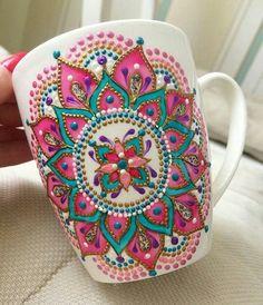 Pink Mandala Art Mug/ Coffee Mug/ Unique Coffee Mug/ Ceramic Mugs/ Cute Mugs/ Tea Mugs/ Coffee Lover Gifts/ Art Print Mug/ Dot Art Painting, Pottery Painting, Ceramic Painting, China Painting, Mandala Art, Mandala Painting, Painted Mugs, Hand Painted Ceramics, Coffee Lover Gifts