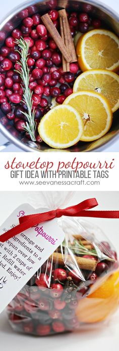 Stove Top Homemade Potpourri Christmas Gift Idea with Printable Tags