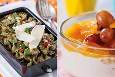 Massa ao pesto e iogurte com frutas são opções para marmita saudável (Foto: Divulgação)