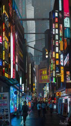 Environment Concept, Tokyo Streets, Tokyo City, Neo Tokyo, Cyberpunk Aesthetic, Cyberpunk City, Futuristic City, Neo Futurism, Tokyo Ravens