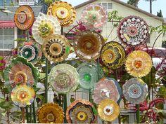 Plate Flowers  # 587.    Garden Yard Art glass and ceramic plate flower