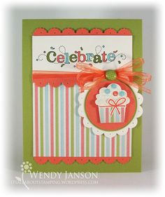Stampin Up, Card, Outlined Occasions, Cupcake Builder punch, Everyday Enchantment DSP
