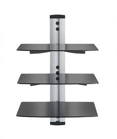 VonHaus 3x Tempered Glass Floating Shelf - Silver