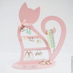 Купить Кошечка розовая - подставка для украшений - подставка для украшений, шкатулка для бижутерии