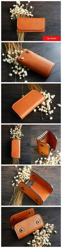 Custom Handmade Vegetable Tanned Italian Leather Key Holder Key Case