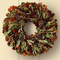 "Autumn Harvest Wreath, 22 also 30"" size Williams sonoma"