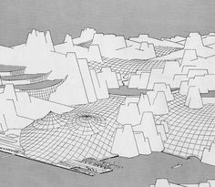 Frei Otto, Sketch for the roofing of a wide mountain valley with cable netting, 1953