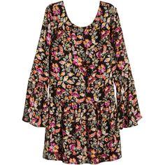 H&M Patterned chiffon dress ($31) ❤ liked on Polyvore featuring dresses, ruffle dress, mini dress, brown long sleeve dress, flared skirt and brown chiffon dress