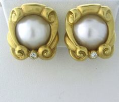 18k Gold 15mm Pearl Diamond Earrings http://hamptonestateauction.com/