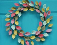 Felt Feather Wreath Modern Fall Wreath Felt Leaf by CuriousBloom
