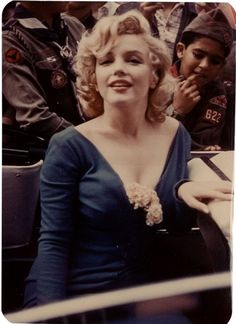 Marilyn at Ebbets Field in 1957. Photo by James Collins.